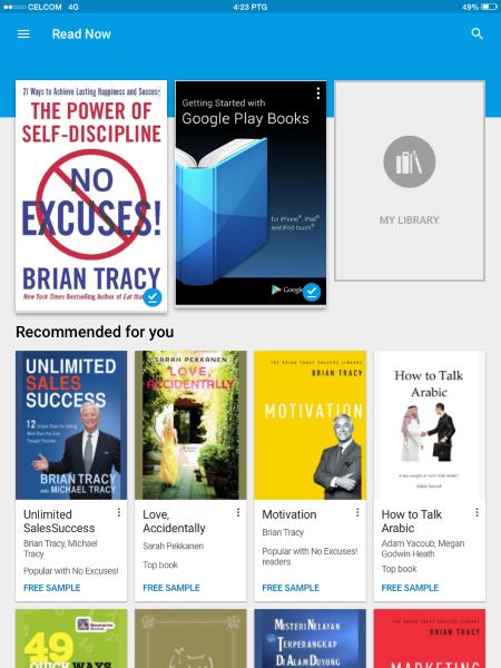 Membaca buku dengan Google Play