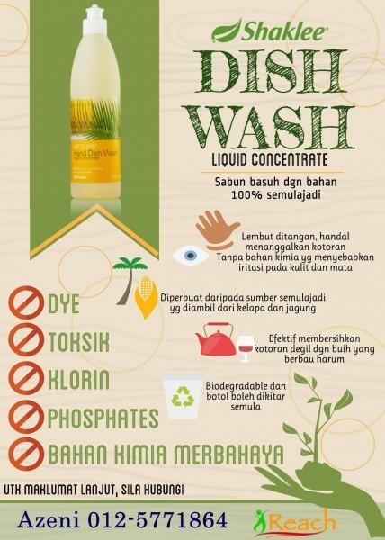 Sabun Dish Wash yang jimat dan bebas bahan kimia